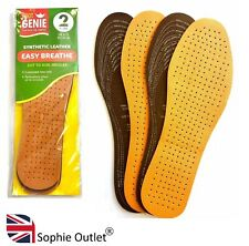 2 Pairs of Leather Insoles Shoe Inner Soles Adult Men Ladies Unisex Cut Size UK