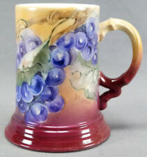Jean Pouyat Limoges Hand Painted Signed VR Wilson Grapes Mug Circa 1891 - 1932