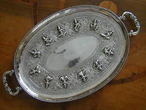 HEAVY ASIAN SILVER TRAY. PROBABLY INDIA, c1880-1920. NO HALLMARKS, MAKER UNKNOWN