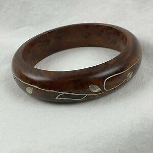 """Burl Wood Bangle Sterling Silver Mother of Pearl Vine Inlay Smooth Round 8"""" Boho"""