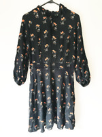 Cue Black Floral Knee Length Dress Size 10 Long Sleeved Lined Evening Party
