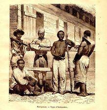 GRAVURE SUR BOIS 19ème  MADAGASCAR TYPES D' ANTANOSSES