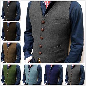 Groom Vest Tweed Waistcoat Mens Vintage Herringbone Tailored V-Neck Wool Wedding