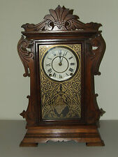 Antique 1875 SETH THOMAS Walnut Victorian Parlor Clock with Brass Lyre Movement