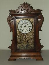 Antique 1875 SETH THOMAS Walnut Victorian Parlor Clock with Brass Lyre Movement