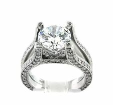 2.01 CT Natural round cut diamond semi mount/ setting only VS/F 900 platinum