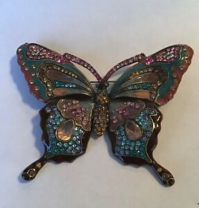 VERY LARGE BUTTERFLY COCKTAIL ENAMEL MULTI COLORED CRYSTAL BROOCH Beautiful VTG