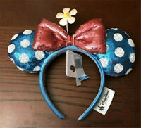 New Disney Parks Minnie Mouse Headband Sunflower Flower Polka-Dot Blue Red Ears