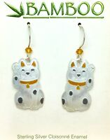 Lucky Kitty Cat Dangle Earrings Sterling Silver Cloisonne Enamel Kitten Gift Box
