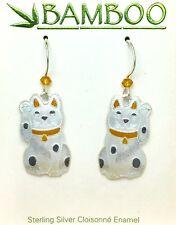 Lucky Kitty Cat Dangle Earrings Sterling Silver Cloisonne Enamel Kitten Gift Box