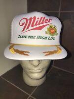 Vintage Baseball Cap Trucker Hat Snapback Lid Mesh Golden Leaves Miller Beers