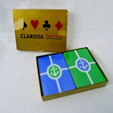 Claridge Double Deck Playing Cards Anchor Design Blue Green White Vintage Sealed