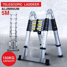Extendable Telescopic Ladder DIY Tool 150kg Max Load Loft Aluminium Thick 5m UK