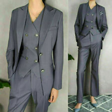 Womens Ladies Gray Double-breasted Vest Pant Suits Work Office Wear Tailored Fit