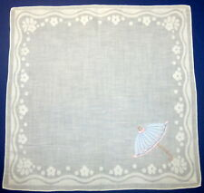 "Vintage 13"" Madeira Portugal Cotton Embroidered Blue Pink Umbrella Handkerchief"