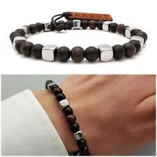 Bracciale uomo acciaio pietre dure con legno onice nero in inox da braccialetto