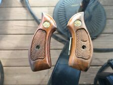 Vintage Small Smith & Wesson Wood Checkerd Pistol Grips - I J K N Frame