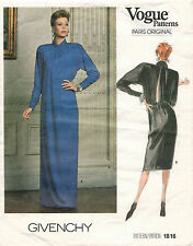 1980's VOGUE PARIS ORIGINAL Dress by Givenchy Pattern 1816 Size 16