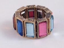 One New Gold Tone Stretch Ring With Colorful Rhinestones #R1134