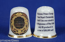 Prince George 1st Royal Christening Gold Coin China Thimble B/122