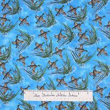 Riverwoods Fabric - Duck Loon Reed Scene Water Blue - Nostalgic Hunt Cotton YARD