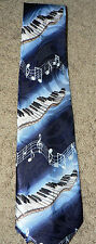 PIANO KEYBOARD Musical Notes Theme Man's Neck Tie, Blue & White