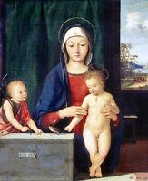 Oil painting Andrea Solari the Virgin Mary Madonna with Christ John the baptist