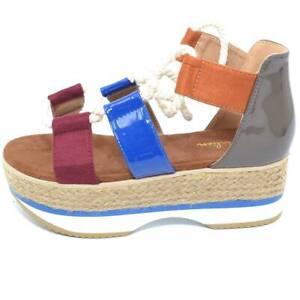 Sandalo basso colorato donna espadrillas con para in gomma alta camouflage con c