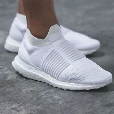 Authentic Adidas Triple White Ultra Boost Laceless S80768 Men's 8 Shoes Sneakers