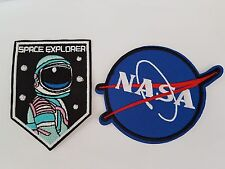 Nasa and Space explorer astronaut twin pack Iron On Patch Sew on Transfer Badge