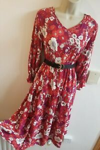New Stunning Size L 12-14 Cottagecore Vtg Midi Ditsy Tea Dress Gd Actuel Red
