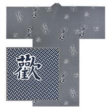"Japanese XXL Men's 64""L Kimono Yukata Robe Cotton Kanji Keisho /Made in Japan"