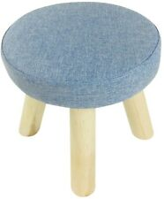 Small Wooden Stool Bench Seat Blue Fabric Top Solid Wood Base Foot Stool 29cm