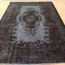 "SALE  9'8"" x 5'10"" BLACK GRAY BROWN TURKISH  oushak  Vintage Overdyed carpet rug"