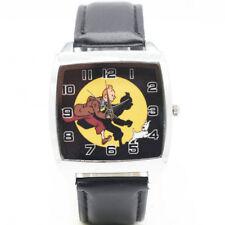 Adventures of Tintin Tin Tin Leather Quartz Steel Square Wrist Watch Black