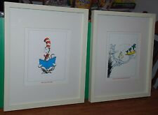 2 Pottery Barn Kids Dr. Seuss Cat In The Hat & One Fish, Two Fish,. Framed Art