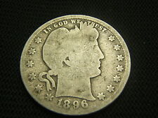 1896 Barber Quarter type coin  90% Silver   Each additional coin ships free !!