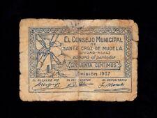 F.C. SANTA CRUZ DE MUDELA , 50 CENTIMOS , MAL CONSERVADO .