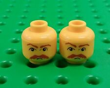 *NEW* Lego Moustache Face Yellow Heads Male Men Minifigures Figs - 2 pieces