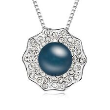 18K White Gold Plated Made with Swarovski Elements Navy Pearl Flower Necklace