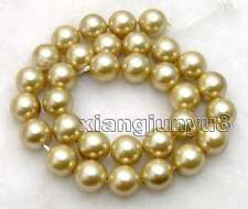 "SALE Big AAA Round 12mm Champagne shell PEARL  loose beads strands 15""-los258"