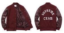 Size XL Supreme Team maroon letterman leather wool jacket RARE!