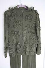 Chico's 1 (M 8) Green Cotton Pants Jacket Set Track Suit Floral Applique