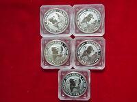 Australia. 1993 1 oz - Silver Kookaburra x 5 Coins.. BU/Specimen in capsules