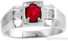 Mens Red Ruby & Diamond Ring 14K White Gold