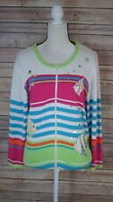 Berek 2 Under The Sea FISH Cardigan Sweater L Embellished Takako Saxon Zip Front