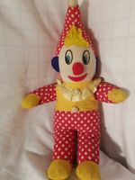 Vintage Stuffed Clown plush With Noise Maker inside.