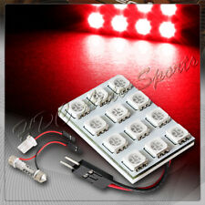 Universal T10 / Festoon 12 SMD LED Interior Dome / Map Light Bulb Panel - Red