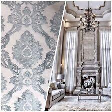 NEW Designer Velvet Chenille Burnout Damask Upholstery Fabric - Grey BTY