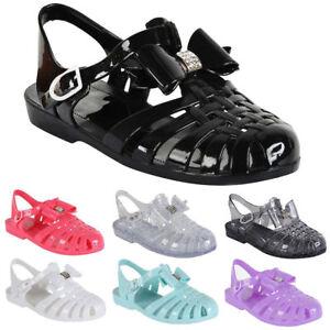 Ladies Girl Beach Summer Retro Diamante Jelly Flip Flop Sandals Women BOW Shoe